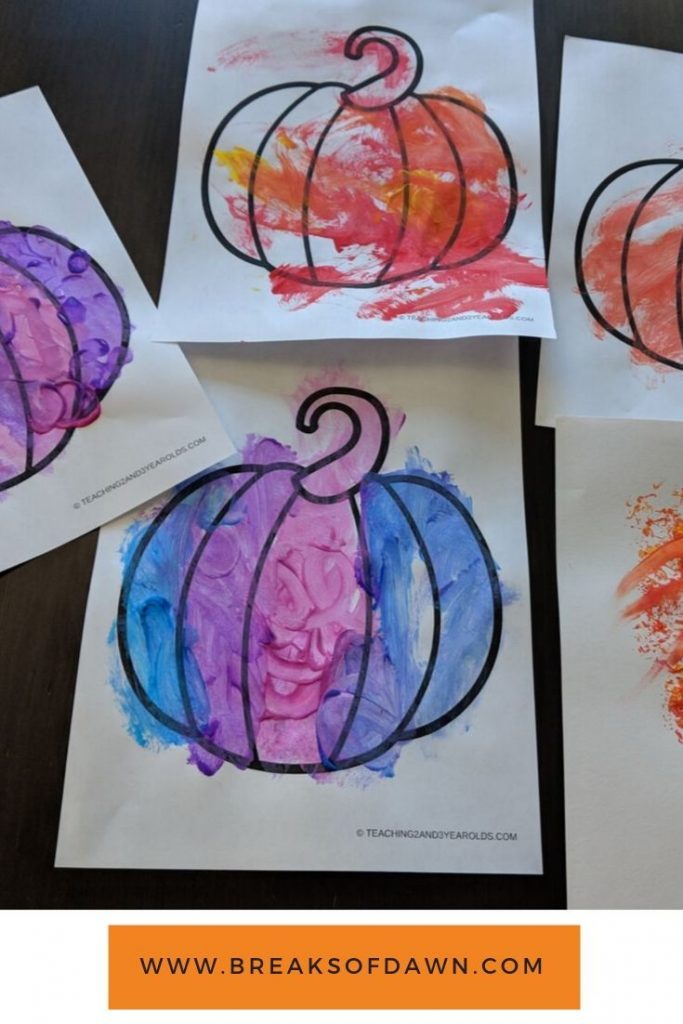 Pumpkin coloring pages finished product