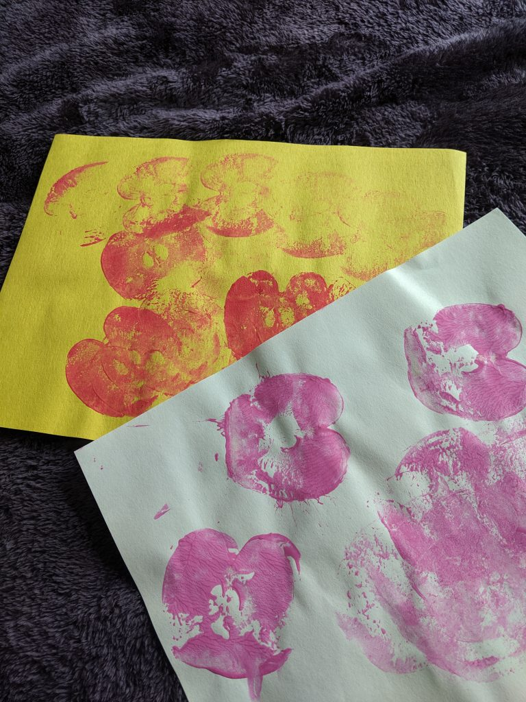 Apple Stamping Finished Product - Easy Fall Crafts for Toddlers