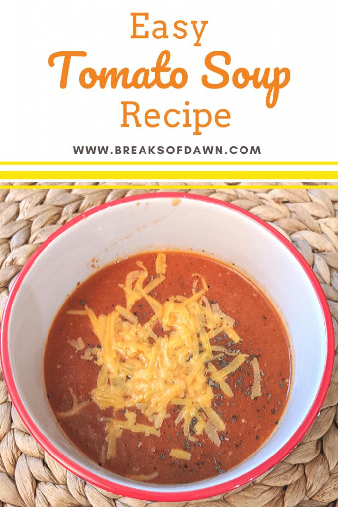 Easy tomato soup recipe pin